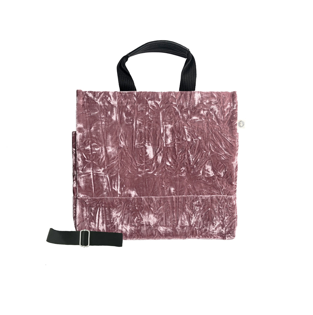 Monogram Stripe Luxe North South: Petal Pink Crushed Velvet