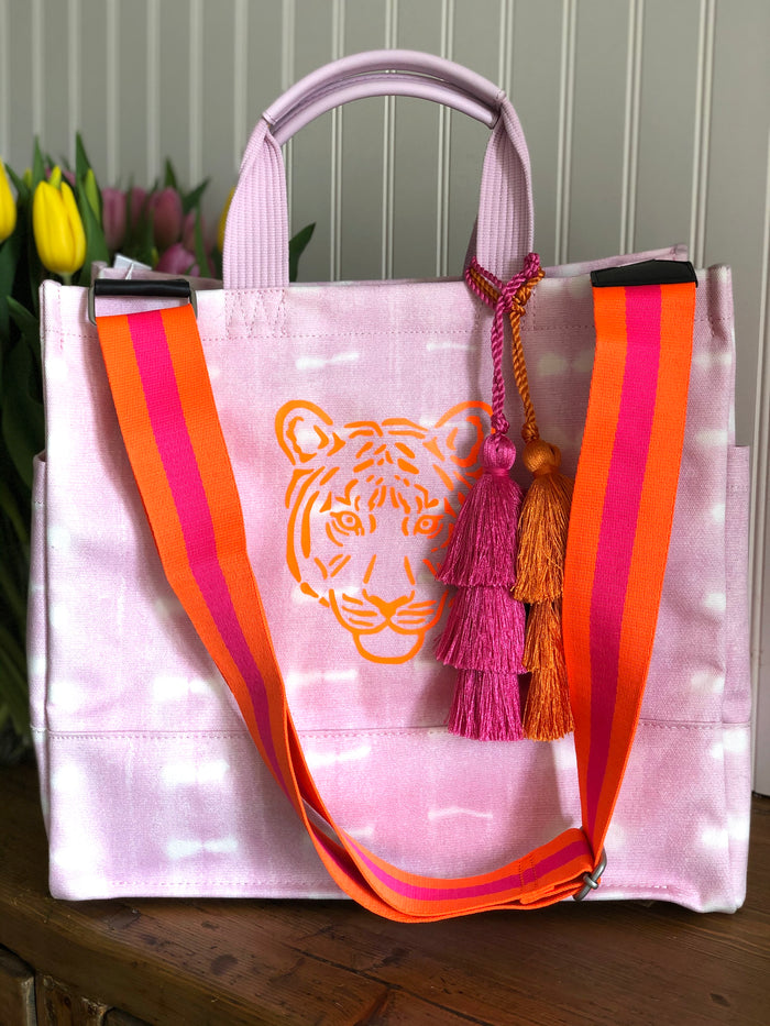 Pink Shibori Luxe North South Bag with Neon Orange Tiger