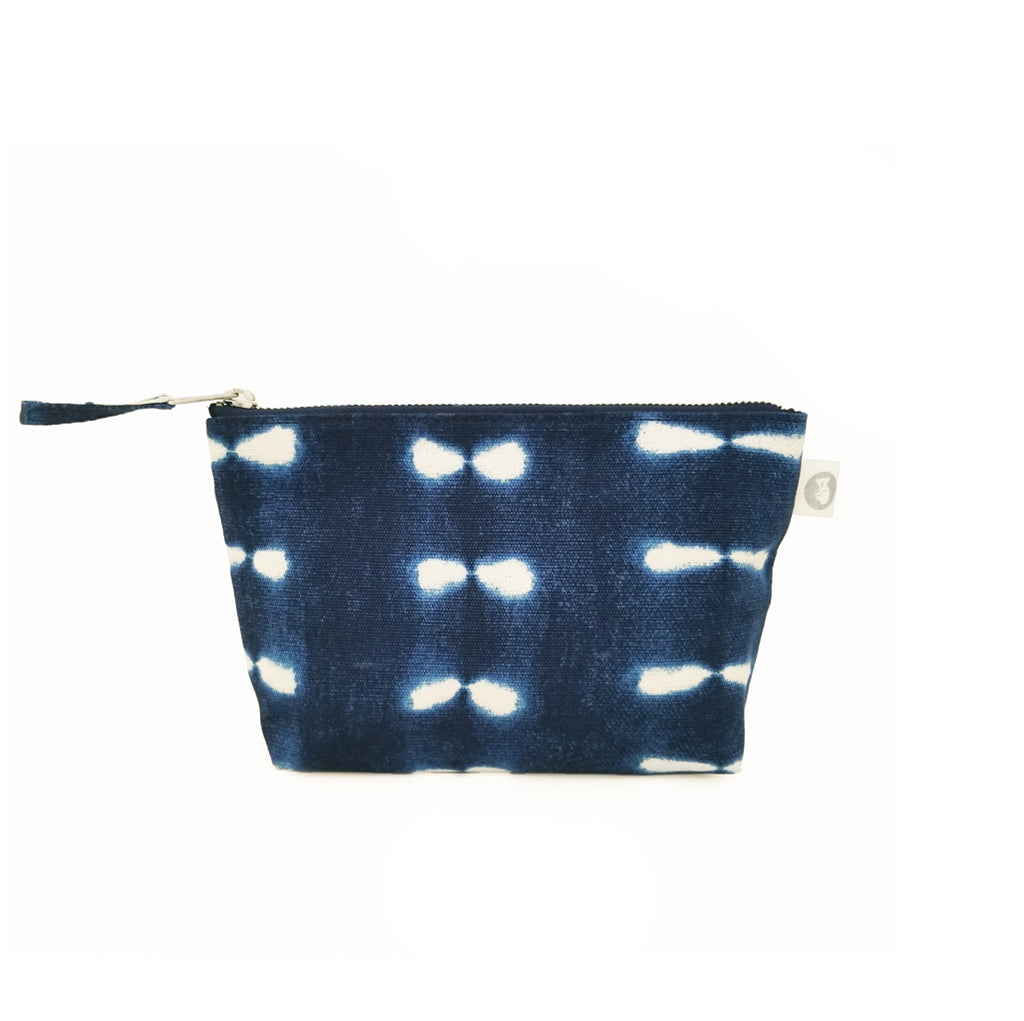 Makeup Bag: Blue Shibori