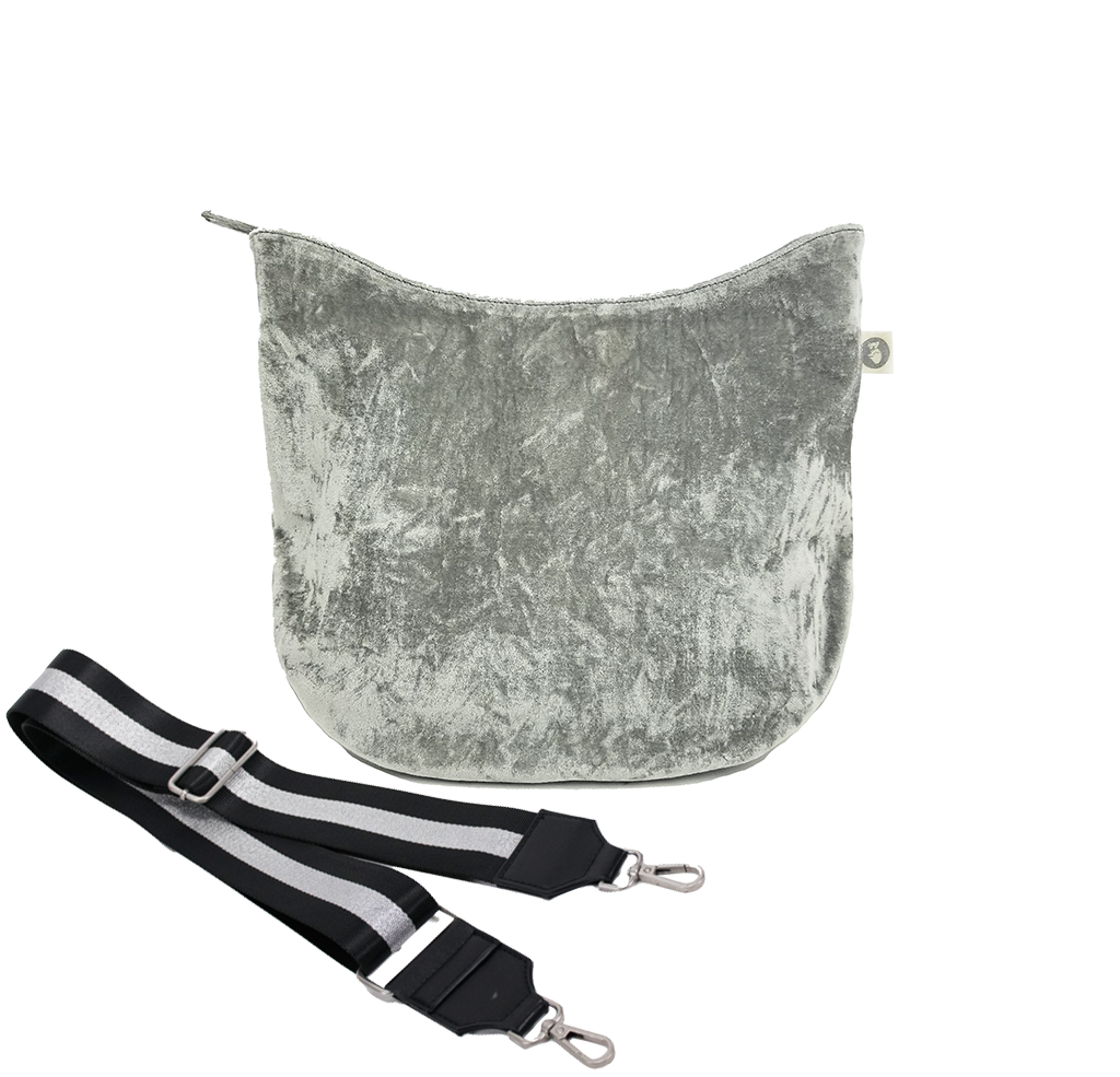 Color Stripe Collection: Mini City Bag Grey Velvet