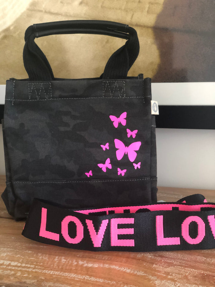 Mini Luxe North South Black Camouflage with Neon Pink Scattered Butterflies with LOVE STRAP