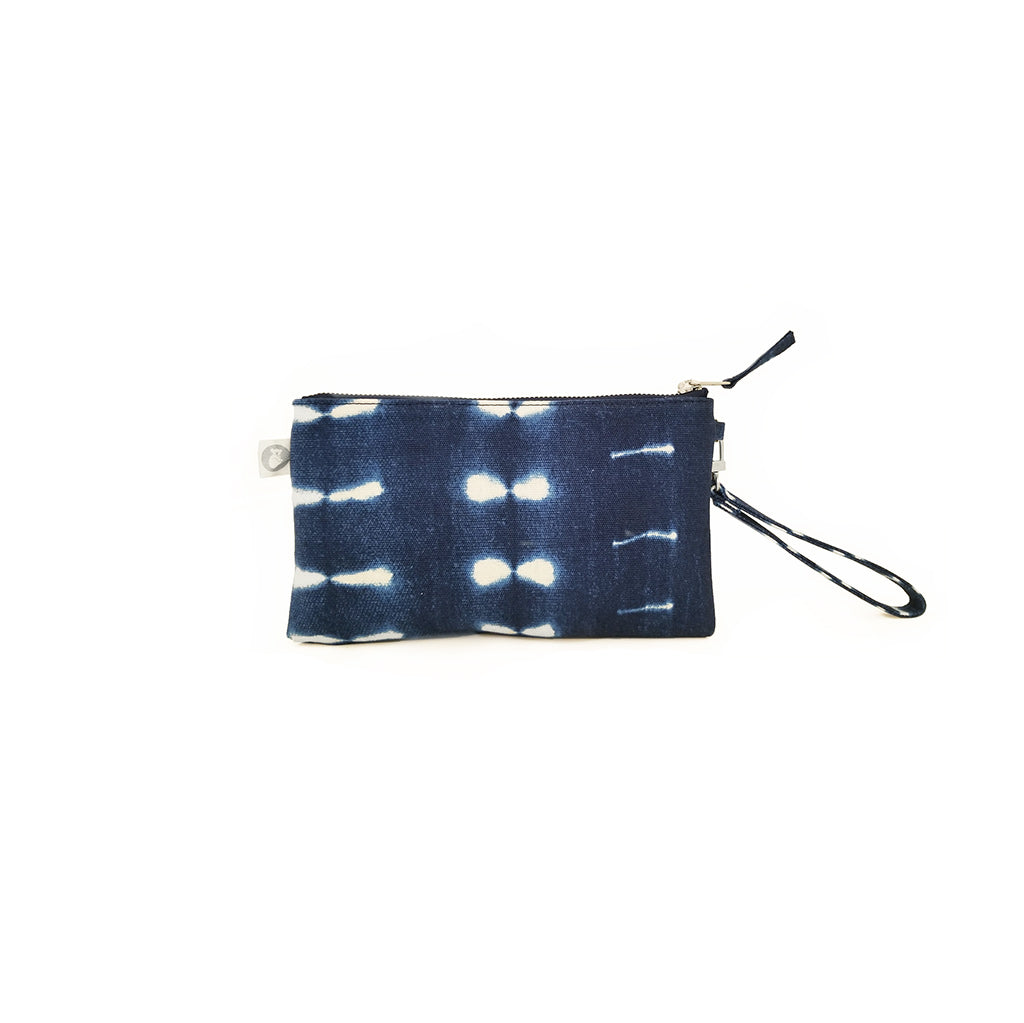 Mini Luxe Clutch with Wristlet: Blue Shibori