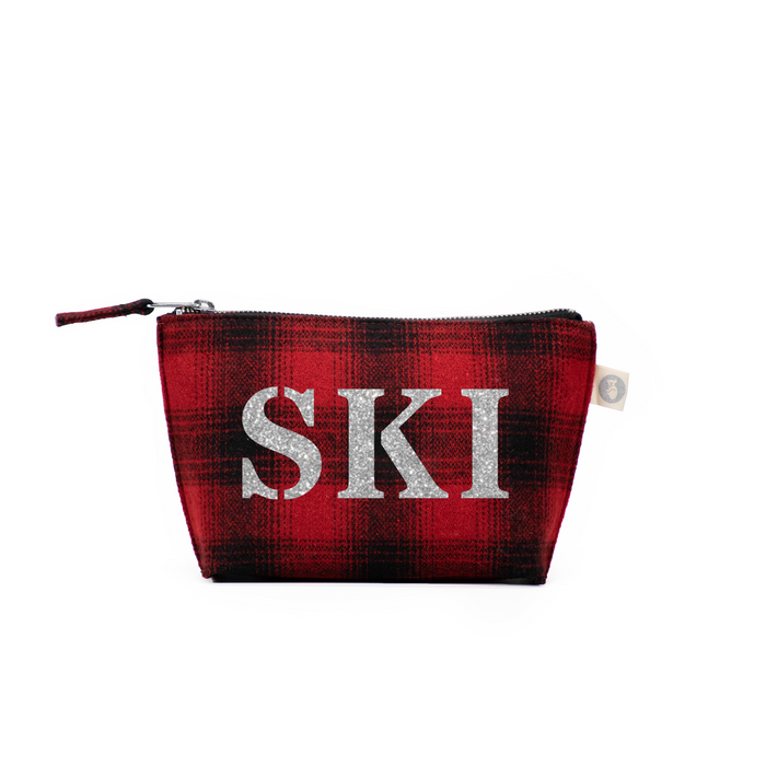 SKI Collection: Makeup Bag Red Plaid Flannel with Silver SKI