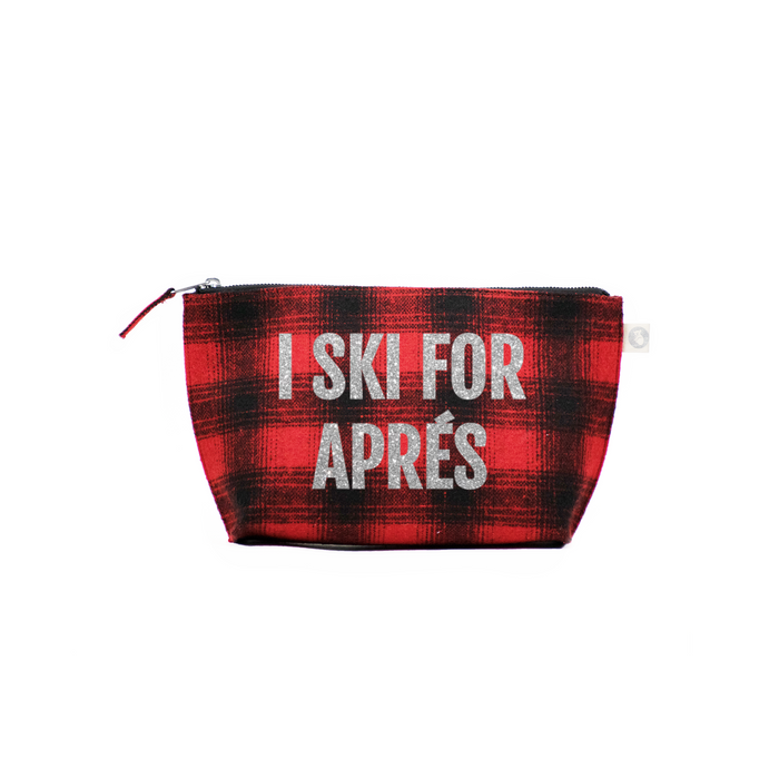 SKI Collection: Clutch Red Plaid Flannel with Silver I Ski for Apres