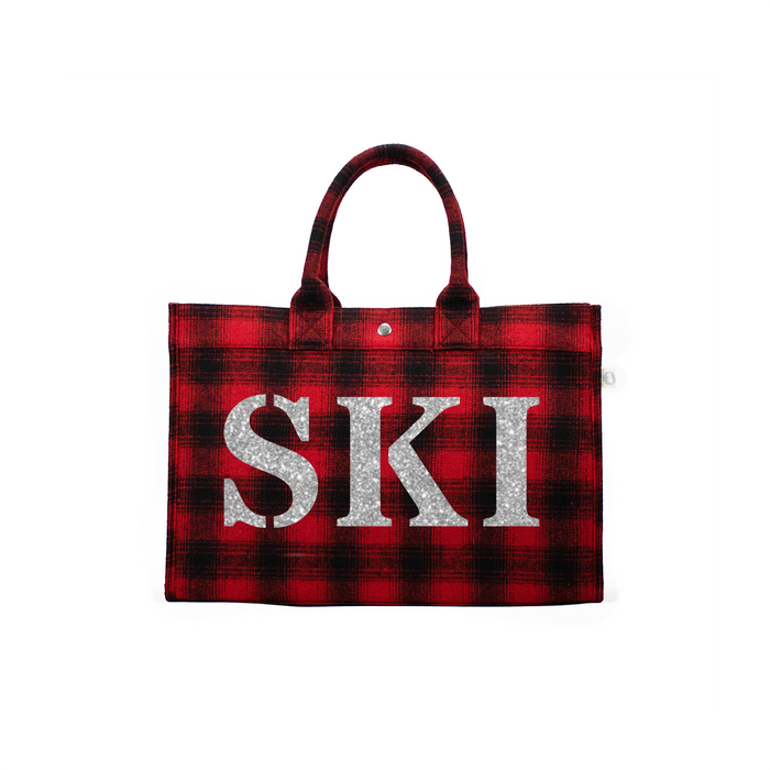 SKI Collection: East West Bag Red Flannel Plaid with Silver SKI