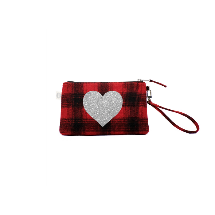 Love Collection: Red Plaid Flannel Mini Luxe Clutch with Silver Heart