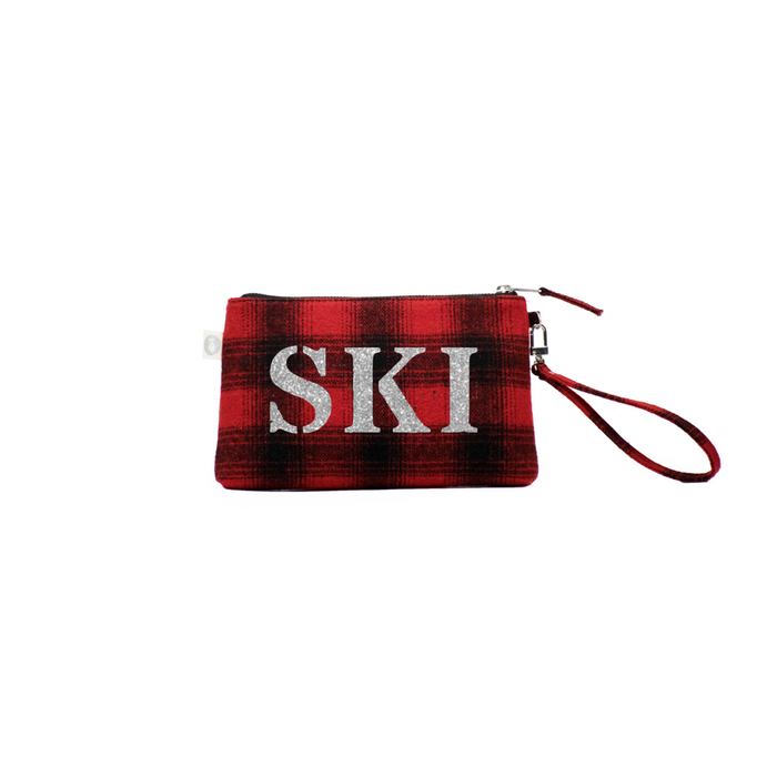 Ski Collection: Mini Luxe Clutch Red Flannel Plaid with Silver SKI