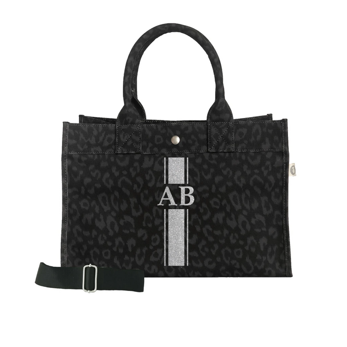 Monogram Stripe: Midi East West Bag- Black Leopard  NEW ARRIVAL!