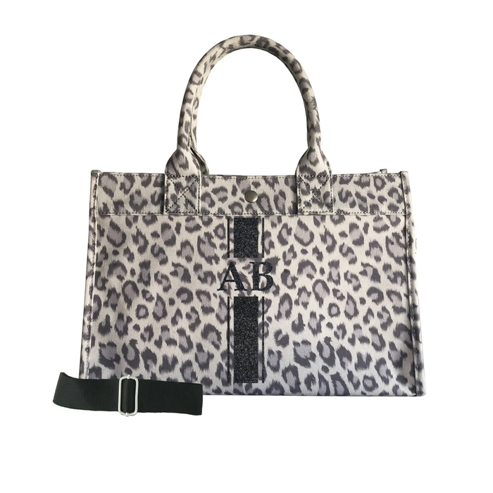Monogram Stripe: Midi East West Bag- Grey Leopard