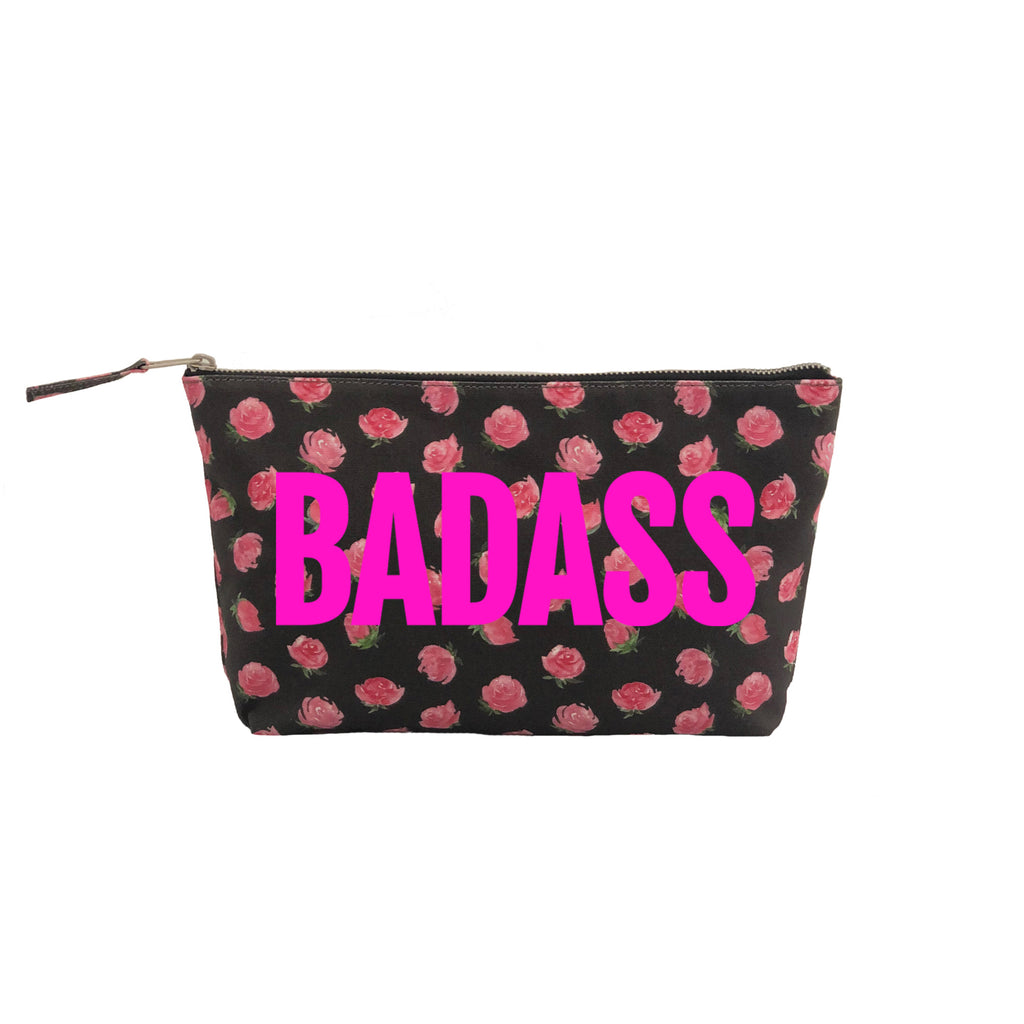 Clutch Bag: Black Floral with Neon Pink BADASS
