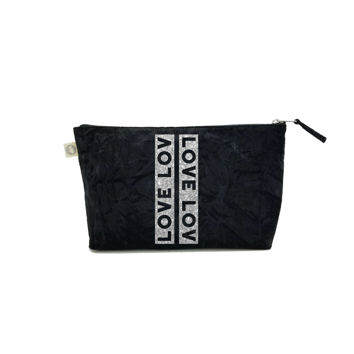 Clutch Bag: Black Crushed Velvet with Silver LOVE Stripe