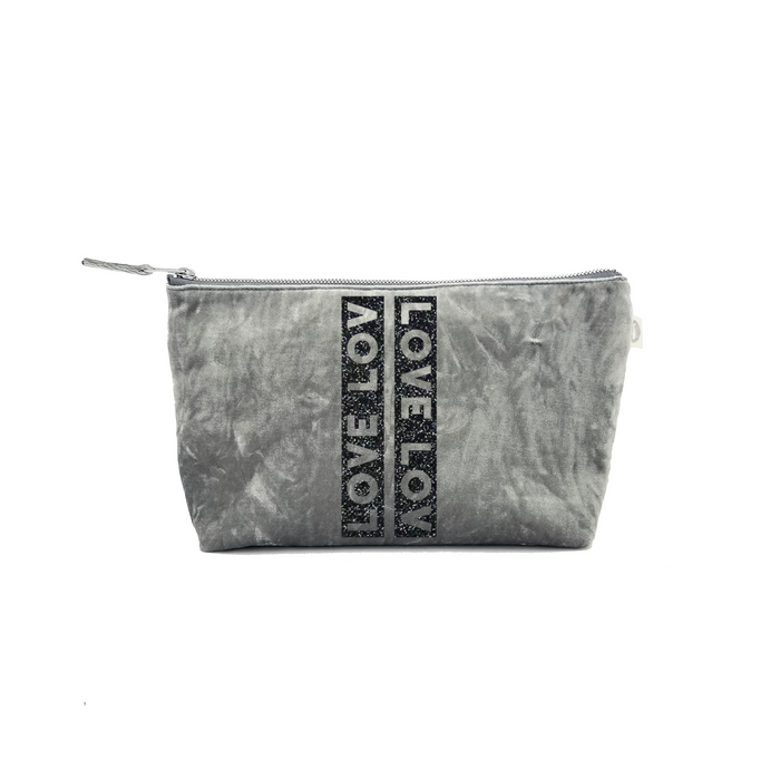 Clutch Bag: Grey Crushed Velvet with Black Glitter LOVE Stripe