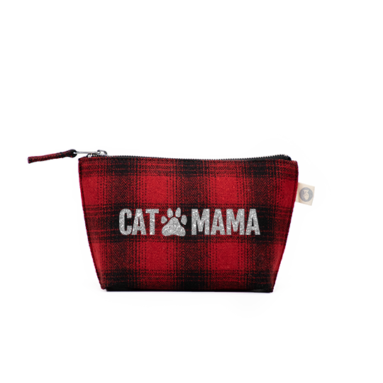 Makeup Bag Red Plaid Flannel with Silver Glitter CAT MAMA