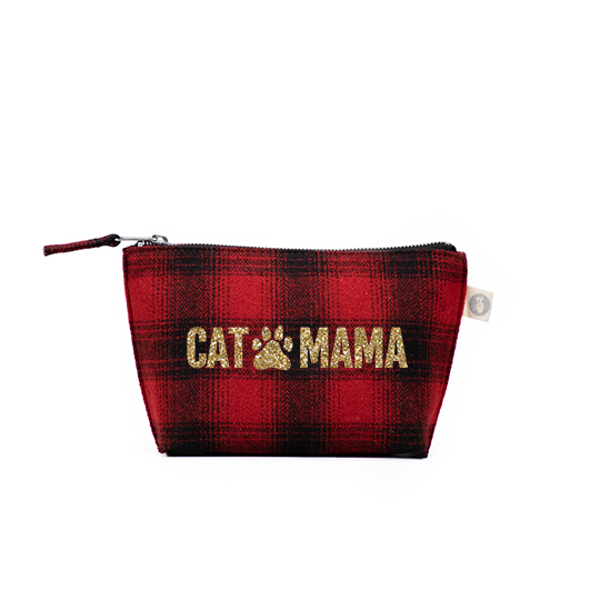 Makeup Bag Red Plaid Flannel with Gold Glitter CAT MAMA