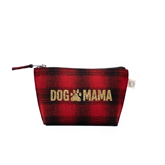 Makeup Bag Red Plaid Flannel with Gold Glitter DOG MAMA