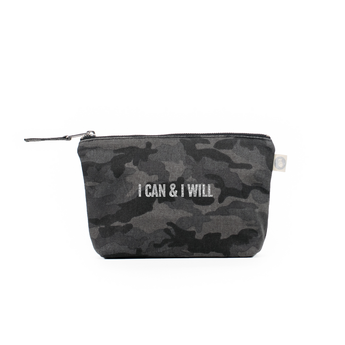"Black Camouflage Makeup Bag with Silver ""I Can & I Will"""