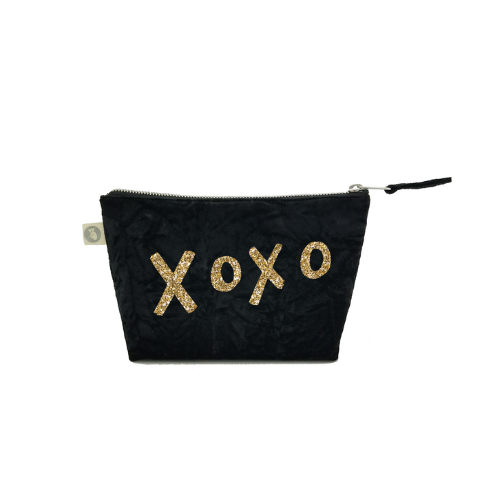 Makeup Bag: Black Crushed Velvet with Gold Glitter XOXO