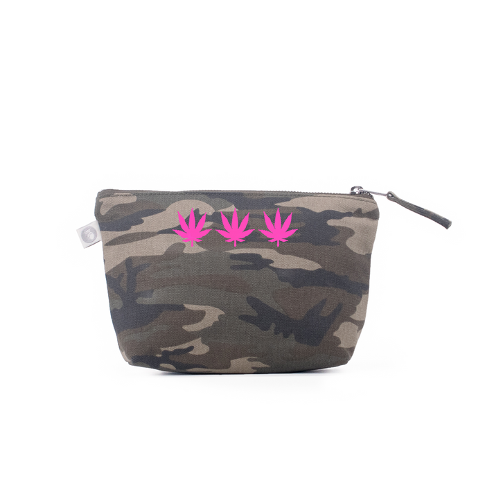 Makeup Bag: Green Camouflage - Pink Matte 3 Pot Leaves