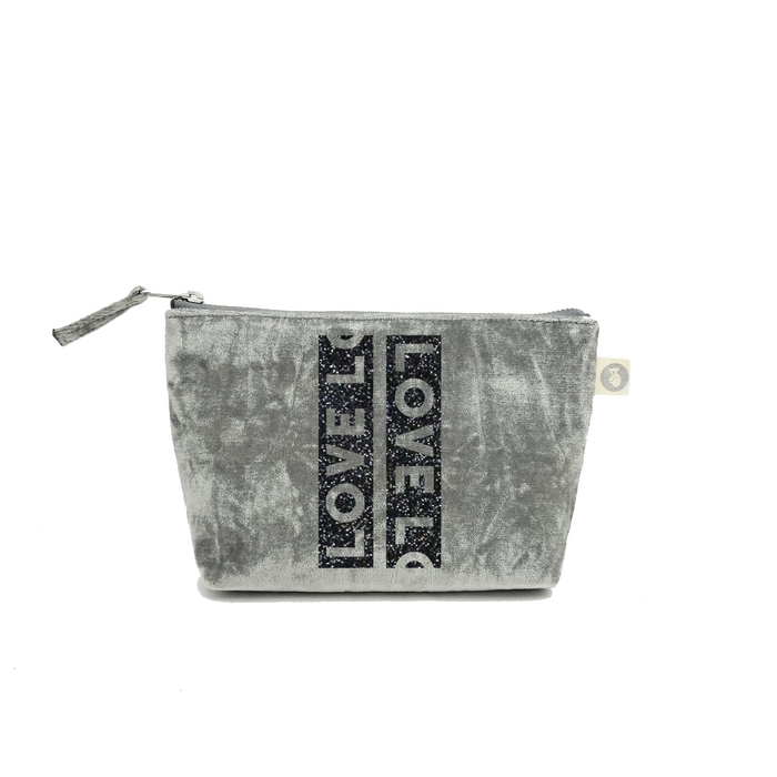 Makeup Bag: Grey Crushed Velvet with Black Glitter LOVE Stripe