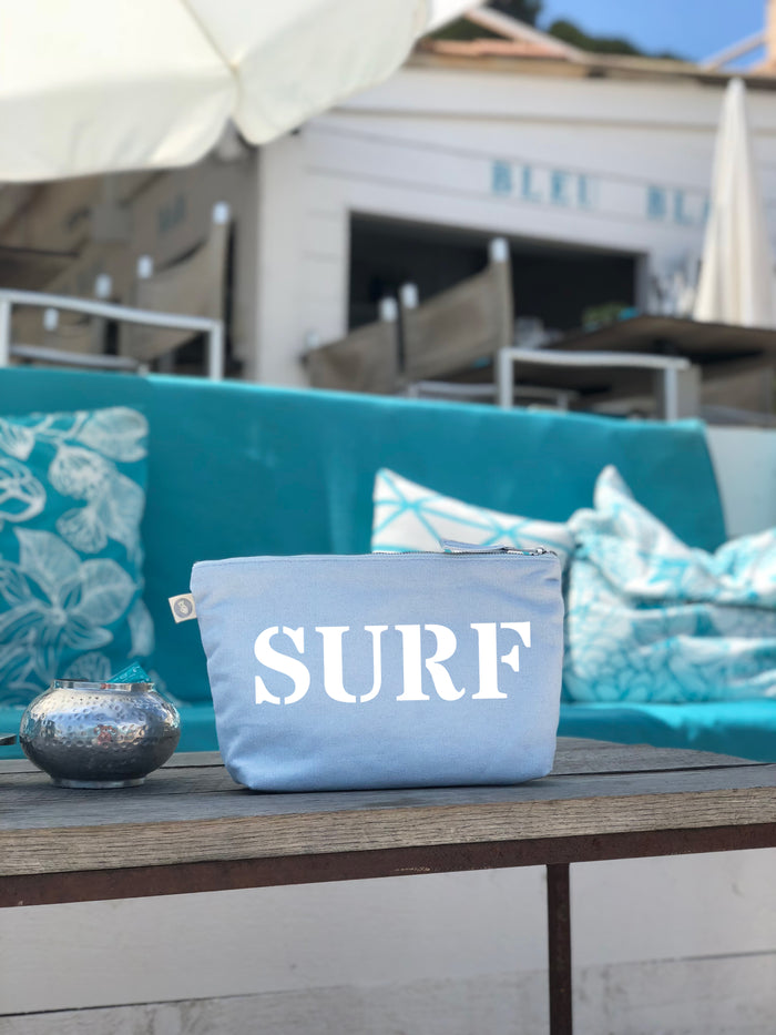 Clutch Bag: Sky Blue with White Matte SURF