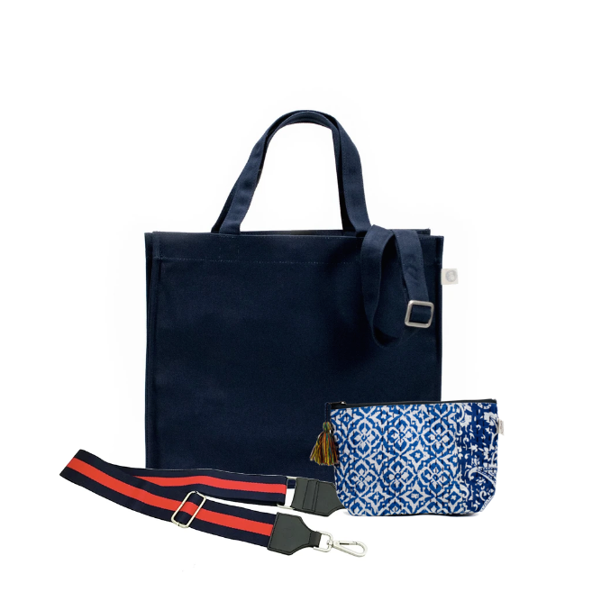 Navy Magazine Bag with Navy/Red Strap & Blue Boho Makeup Bag (Only $64, plus a FREE Strap + Makeup Bag with code: SUMMER64)