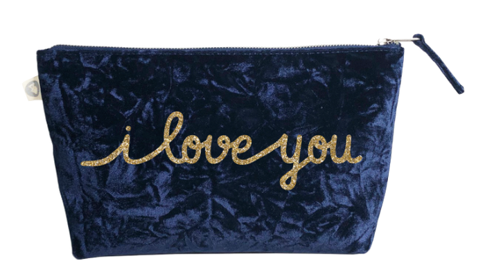 I Love You Collection: Clutch in Midnight Blue Crushed Velvet with Gold Glitter