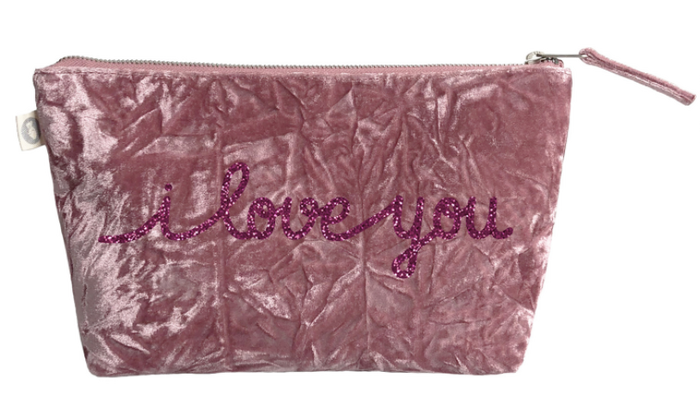 I Love You Collection: Clutch in Petal Pink Crushed Velvet with Pink Glitter