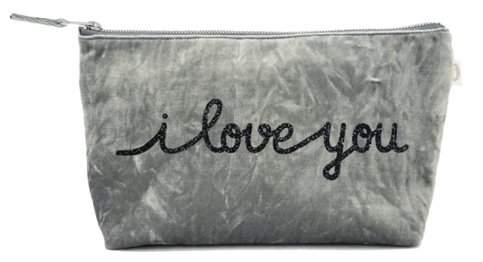 I Love You Collection: Clutch in Grey Crushed Velvet with Black Glitter