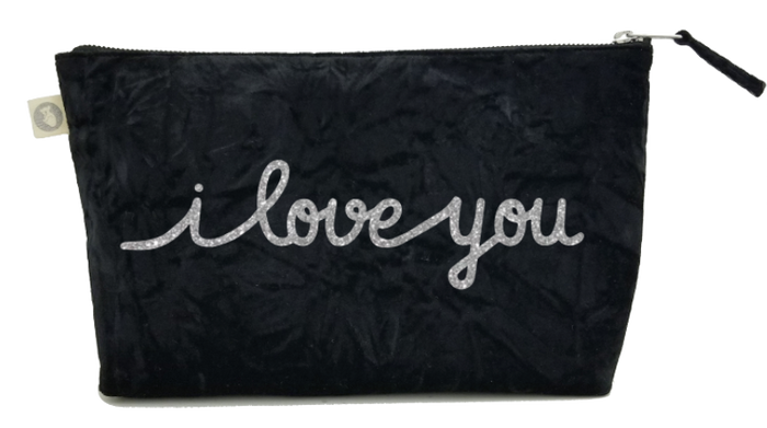 I Love You Collection: Clutch in Black Crushed Velvet with Silver Glitter