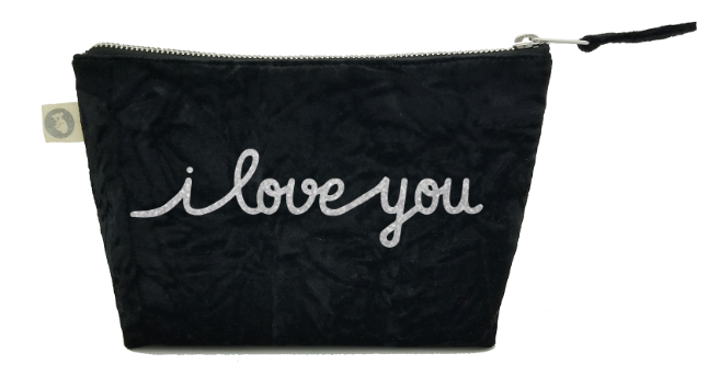 I Love You Collection: Makeup Bag in Black Crushed Velvet with Silver Glitter