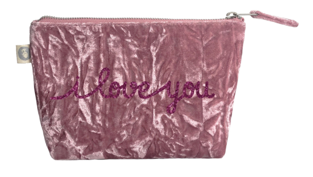 I Love You Collection: Makeup Bag in Petal Pink Crushed Velvet with Pink Glitter
