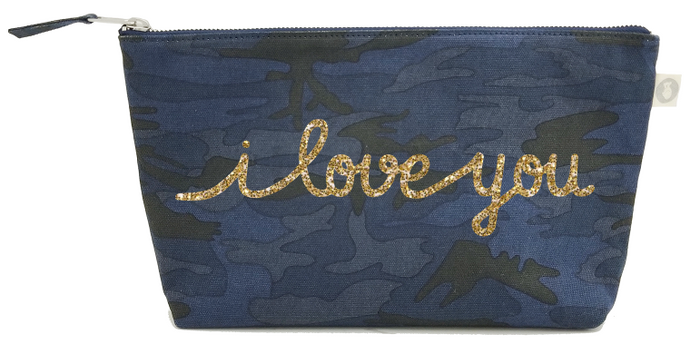 I Love You Collection: Clutch in Dark Blue Camo with Gold Glitter