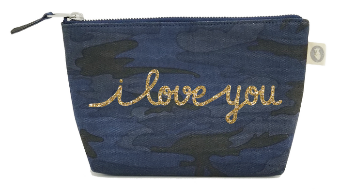I Love You Collection: Makeup Bag in Dark Blue Camo with Gold Glitter