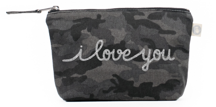 I Love You Collection: Makeup Bag in Black Camo with Silver Glitter