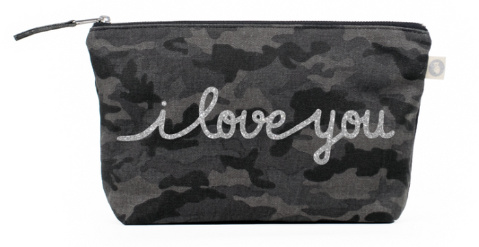 I Love You Collection: Clutch in Black Camo with Silver Glitter
