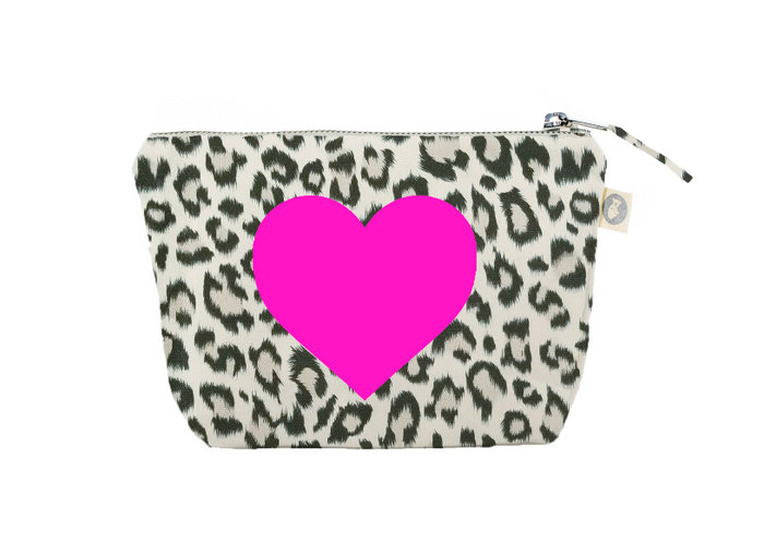 Makeup Bag: Leopard with a PInk Heart