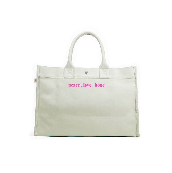 LOVE Collection: East West Bag Seaglass with Neon Pink Matte Peace. Love. Hope