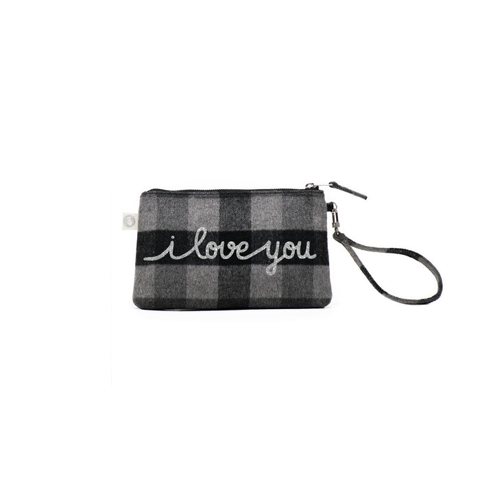 Grey Plaid Flannel Mini Luxe Clutch with Silver I Love You