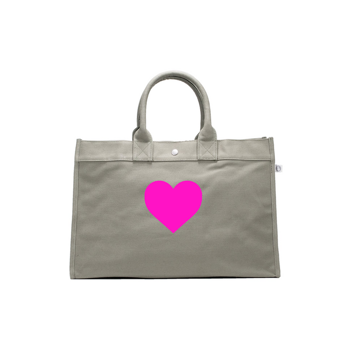 LOVE Collection: East West Bag Olive with Neon Pink Matte Heart