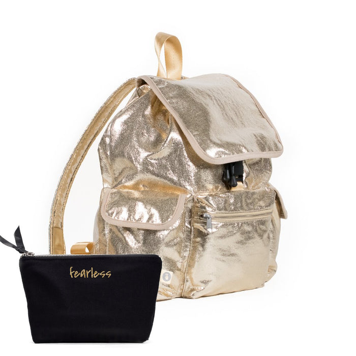 Sporty Gift Bundle: Gold Metallic Backpack + Black Makeup Bag with Gold Glitter Fearless