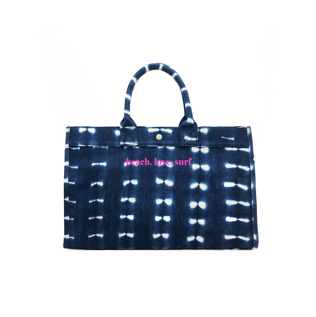 East West Bag: Blue Shibori with Neon Pink beach.love.surf