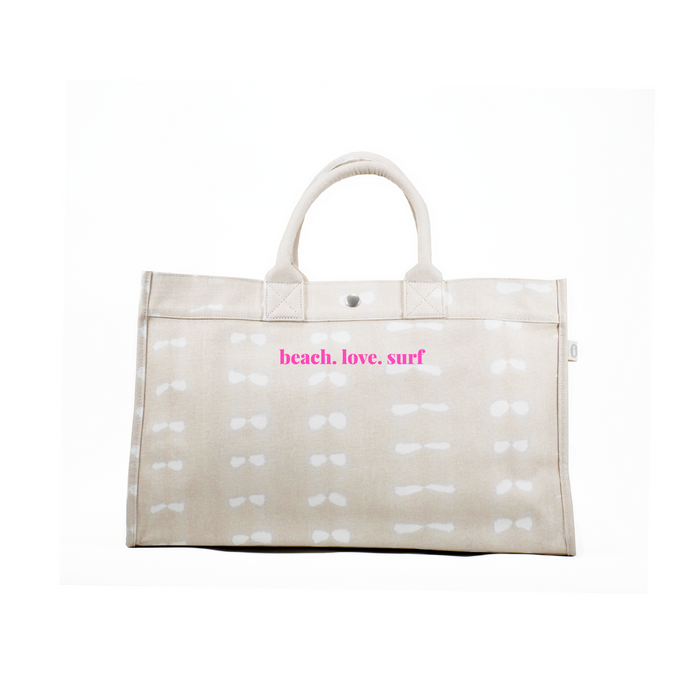 East West Bag: Stone Shibori with Neon Pink beach.love.surf