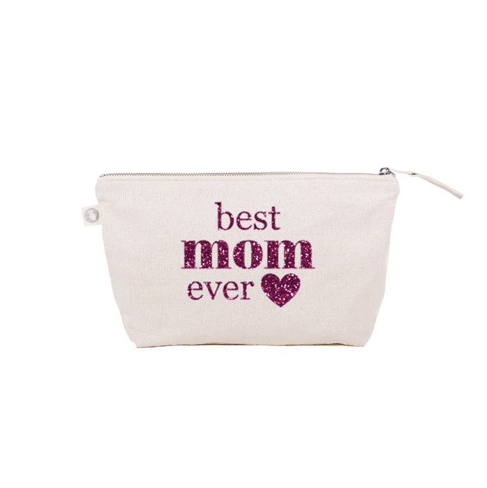 BEST MOM EVER: Makeup Bag Natural Metallic with Pink Glitter