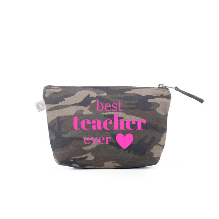 Teacher Appreciation: Makeup Bag Green Camo with Neon Pink Best Teacher Ever