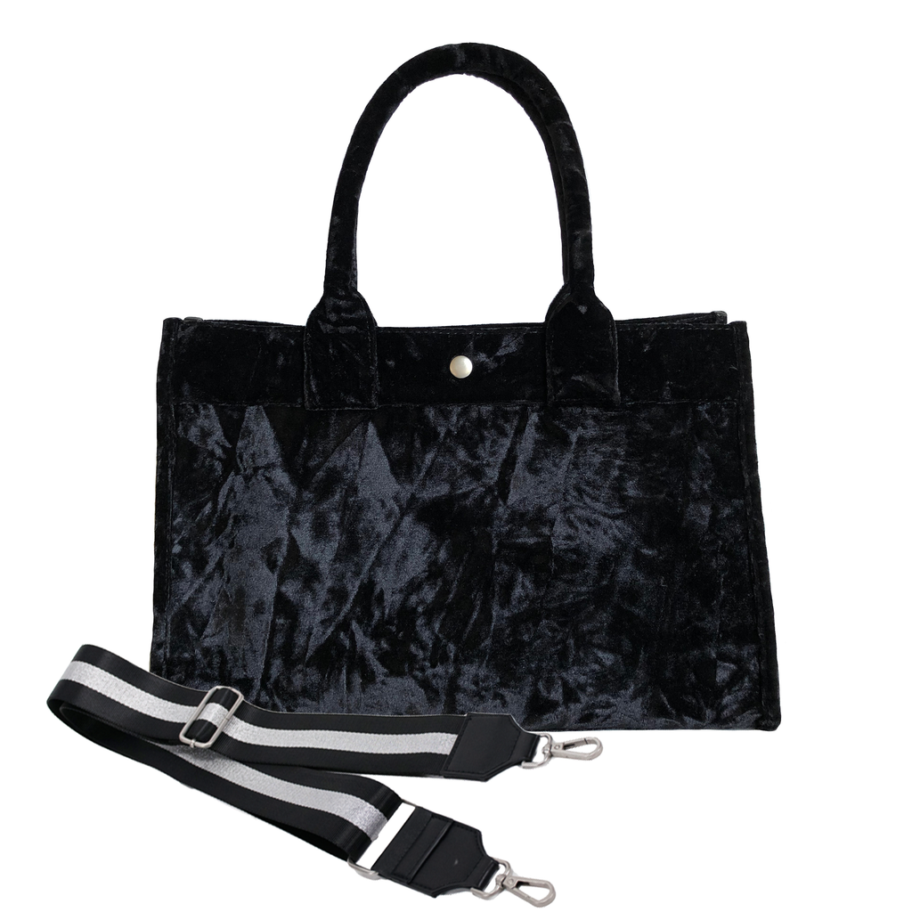 Midi East West Bag: Black Crushed Velvet