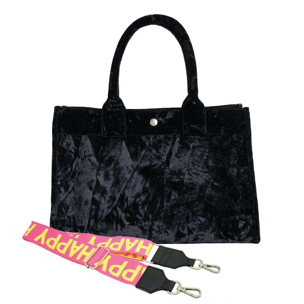 Monogram Stripe Midi East West Bag: Black Crushed Velvet