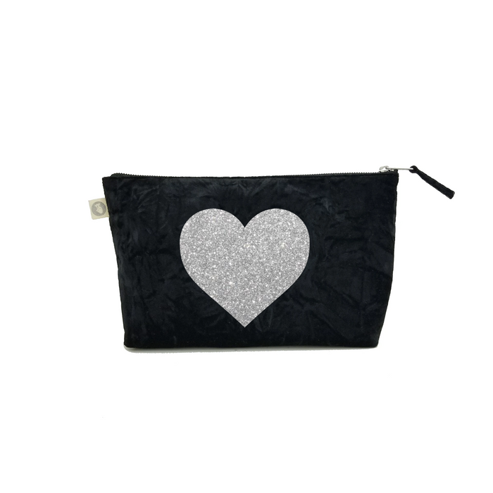 Clutch Bag: Black Crushed Velvet with Silver Glitter Heart