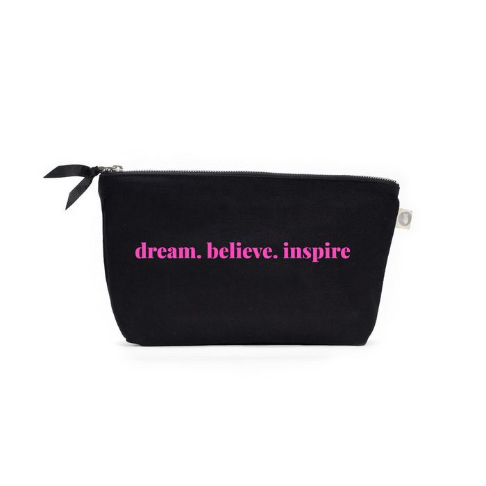 Clutch Bag: Black with Neon Pink dream.believe.inspire