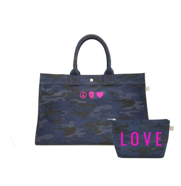 Dark Blue Camo East West Bag with Neon Pink Matte Peace/Skull/Heart + FREE Makeup Bag with Neon Pink Matte LOVE ($240 value for only $184 with code: GIFT184)