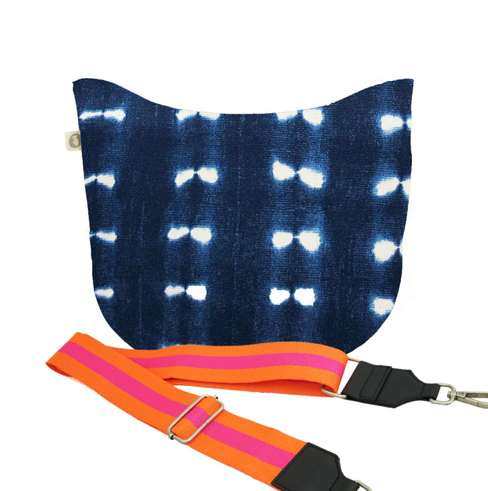 Blue Shibori City Bag with Orange/Pink Strap Only $84 + FREE Strap ($194 value for only $84 with code: CITY84)